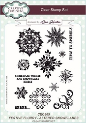 Creative Expressions - Clear Stamp - Festive Flurry Altered Snowflakes by Lisa Horton