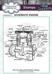 Creative Expressions - Andy Skinner Schematic Engine Cling Stamp