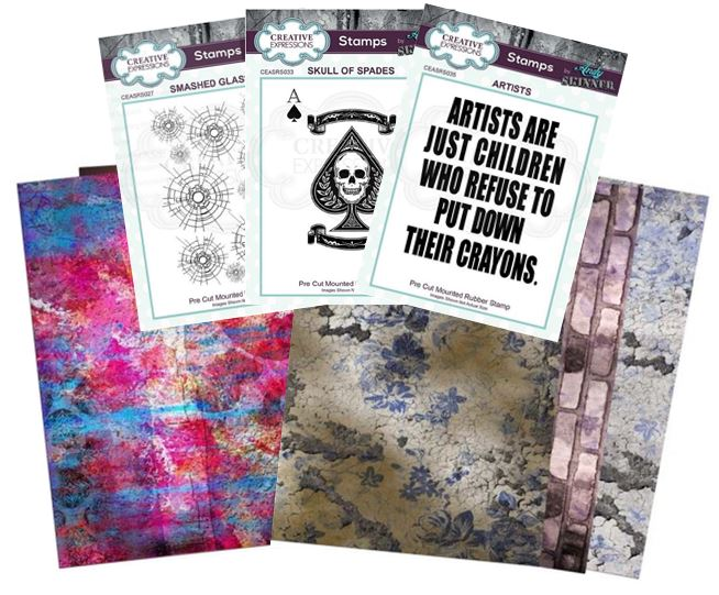 Creative Expressions - New Andy Skinner stamps & rice paper