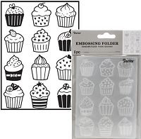 Darice Embossing Folder - (A2 Size) - Cupcakes