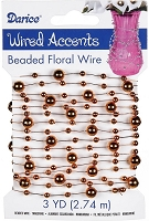 Darice - Beaded Floral Wire Accents - Tangerine (3 Yds)
