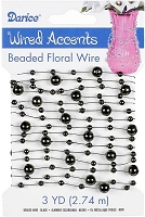 Darice - Beaded Floral Wire Accents - Black (3 Yds)