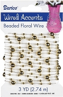 Darice - Beaded Floral Wire Accents - Gold (3 Yds)