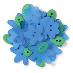 Doodlebug Shaped Buttons - Blue Jean Posies