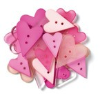 Doodlebug Shaped Buttons - Pink Hearts