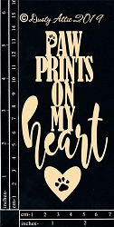 Dusty Attic Chipboard - Paw Prints on My Heart