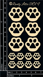 Dusty Attic Chipboard - Paw Prints - Cats