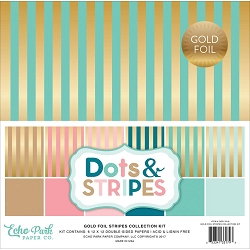 Echo Park - Dots & Stripes Collection - Gold Foil Stripes Pack
