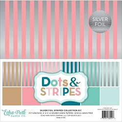 Echo Park - Dots & Stripes Collection - Silver Foil Stripes Pack