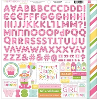 Echo Park - Birthday Wishes Collection - Girl Alpha Sticker Sheet :)