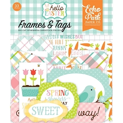 Echo Park - Hello Easter Collection - Die Cut Tags & Frames