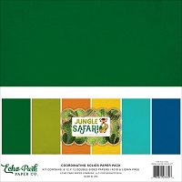 Echo Park - Jungle Safari Collection - Coordinating Distressed Solids Paper Pack