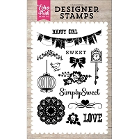 Echo Park - Petticoats & Pinstripes (Girl) Collection - Simply Sweet Clear Stamps