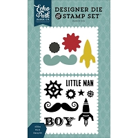 Echo Park - Petticoats & Pinstripes (Boy) Collection - All Boy Clear Stamps & Die Set
