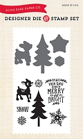 Echo Park - The Story of Christmas Collection - Merry & Bright Die & Clear Stamp Set