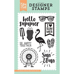 Echo Park - Summer Dreams Collection - I Heart Summer Clear Stamps