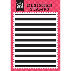 Echo Park - Summer Fun Collection - Cabana Stripe Clear Stamps