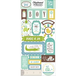 Echo Park - Sweet Baby Boy Collection - 6x12 Chipboard Phrases