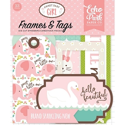 Echo Park - Sweet Baby Girl Collection - Die Cut Tags & Frames