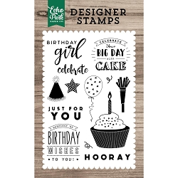 Echo Park - Desinger Clear Stamps - Birthday Wishes