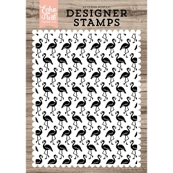 Echo Park - Desinger Clear Stamps - Flamingos Background A2 Clear Stamp