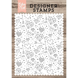 Echo Park - Desinger Clear Stamps - Constellation Love Background A2 Clear Stamp