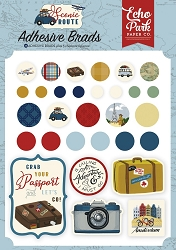 Echo Park - Scenic Route Collection - Adhesive Brads & Chipboard