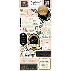 Echo Park - Wedding Day Collection - 6x12 Chipboard Phrases