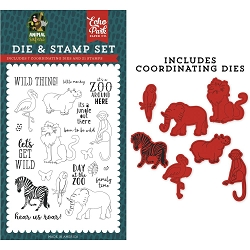 Echo Park - Animal Safari Collection - Wild Thing Clear Stamps & Die Set