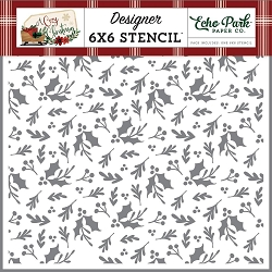Echo Park - A Cozy Christmas Collection - Christmas Greenery 6x6 Stencil
