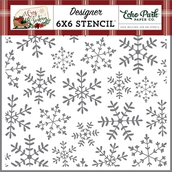 Echo Park - A Cozy Christmas Collection - Cheerful Snowflakes 6x6 Stencil