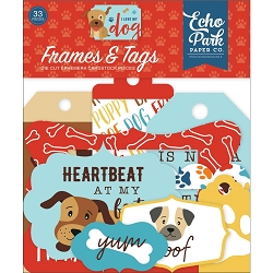 Echo Park - I Love My Dog Collection - Die Cut Tags & Frames