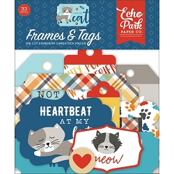 Echo Park - I Love My Cat Collection - Die Cut Tags & Frames