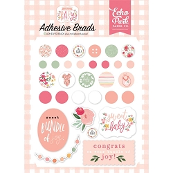 Echo Park - Welcome Baby Girl Collection - Adhesive Brads & Chipboard