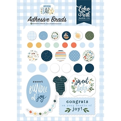 Echo Park - Welcome Baby Boy Collection - Adhesive Brads & Chipboard