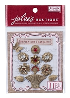 EK Success - Jolee's Boutique French General -Dimensional Stickers - Metal Bouquet with Gems :)
