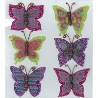 Jolee's Boutique Parcel - Layered Butterflies ( with resin bodies & glitter)