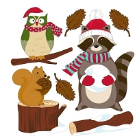 EK Success - Jolee's Boutique - Dimensional Stickers - Woodland Creatures with Santa Gear :)