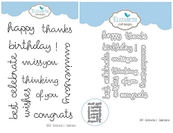 Elizabeth Craft Designs - Clear Stamp & Die Set - Sentiments 1 - Celebration
