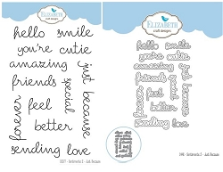 Elizabeth Craft Designs - Clear Stamp & Die Set - Sentiments 2 - Just Because