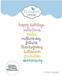 Elizabeth Craft Designs - Die by Joset Designs - Words 3 Happy Holidays