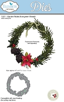 Elizabeth Craft Designs - Die - Garden Notes Evergreen Wreath by Susan Tierney Cockburn  (wreath only - no pinecones or poinsettia)