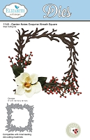 Elizabeth Craft Designs - Die - Garden Notes Grapevine Wreath Square (Flowers not included) by Susan Tierney Cockburn