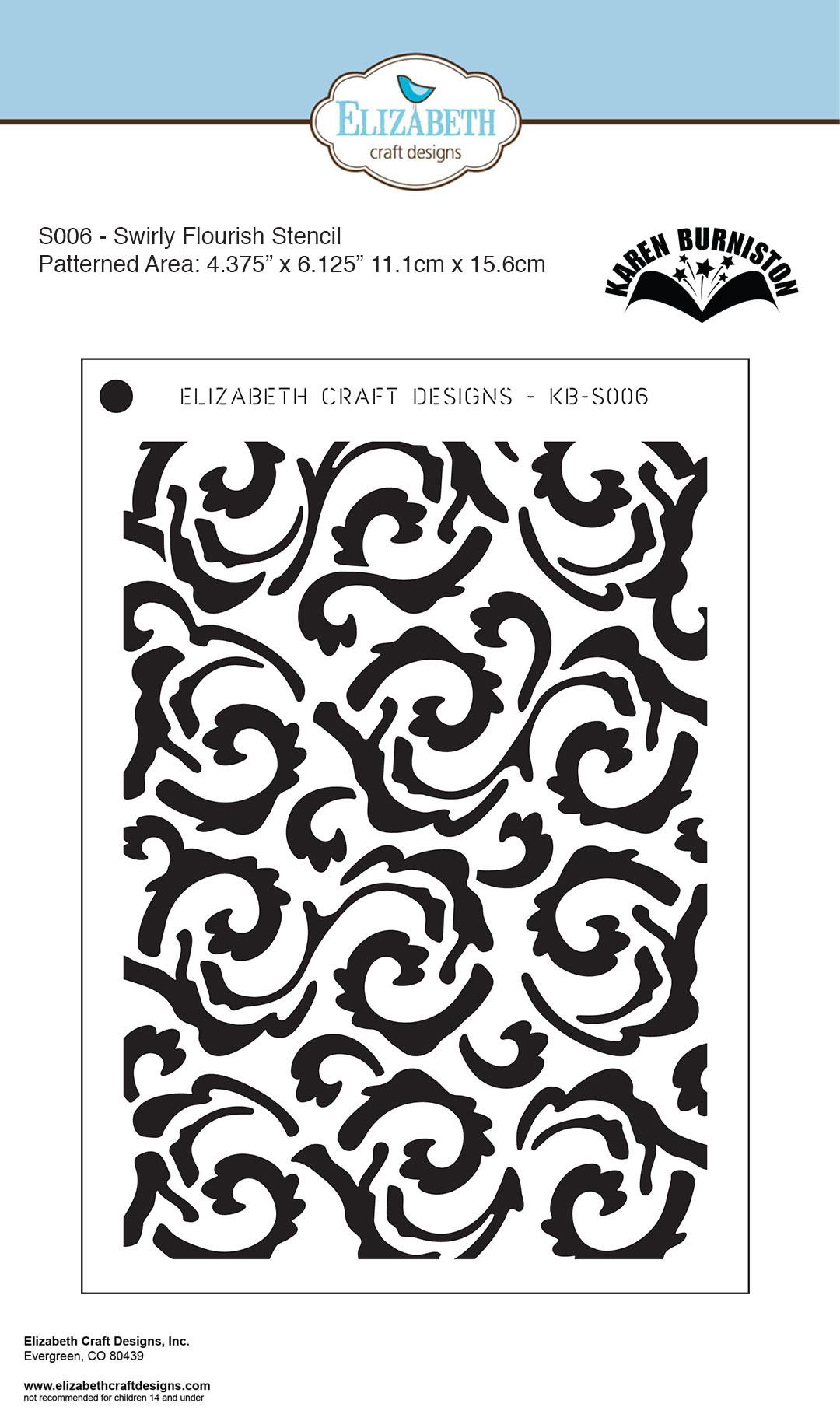 Elizabeth Craft Designs 5 X7 Stencil Swirly Flourish By Karen Burniston