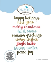 Elizabeth Craft Designs - Die - Words 5 - Winter Wishes