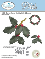 Elizabeth Craft Designs - Die - Garden Notes Holiday Holly & Berries