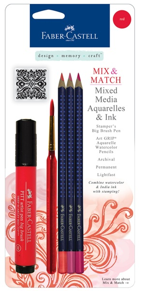 faber-castell - mixed media aquarelles & inks - red (with