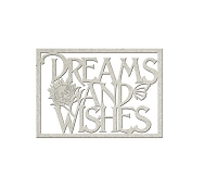 Fab Scraps - Floral Dreams Collection - Die-Cut Chipboard Embellishment - Dreams & Wishes