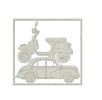 Fab Scraps - Journey In Time Collection - Die-Cut Chipboard Embellishment - Scooter & Old Car