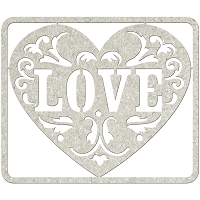 Fab Scraps - Elegant Chic Collection - Die-Cut Chipboard Embellishment - Love Heart